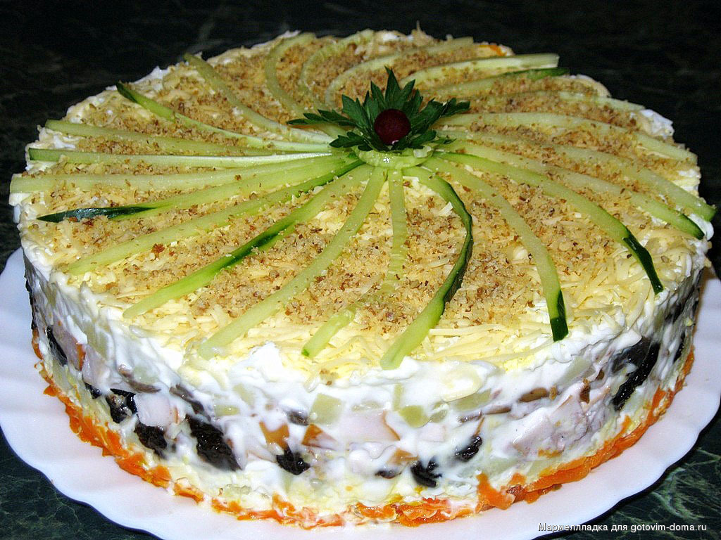 Салат с грибами торт рецепт