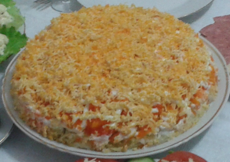 Рецепт салата мимоза с морковью и картофелем